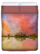 Sunset Over Sauvie Island Duvet Cover
