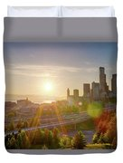 Sunset Over Seattle Downtown Skyline Duvet Cover
