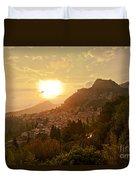 Sunset Over Sicily Duvet Cover