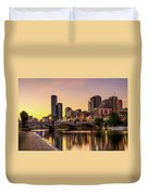 Sunset Over Skyscrapers Of Melbourne Downtown And Princes Bridge Duvet Cover