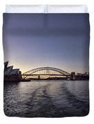 Sunset Over Sydney Harbor Bridge And Sydney Opera House Duvet Cover