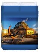 Sunset Over The Adler Planetarium Chicago Duvet Cover