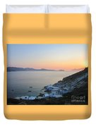 Sunset Over The Fishing Cove Of Klima On The Cycladic Island Of Milos Duvet Cover