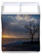 Sunset Over The Mississippi In Wisconsin Duvet Cover