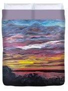 Sunset Over The Mississippi Duvet Cover