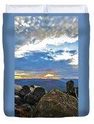 Sunset Over The Mountain Range Duvet Cover