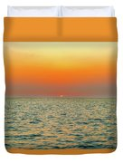Sunset Over The Ocean In Galapagos Duvet Cover