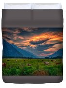 Sunset Over The Pasture Duvet Cover