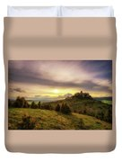 Sunset Over The Ruins Of Spis Castle In Slovakia Duvet Cover