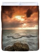 Sunset Over The Sea In Israel Duvet Cover