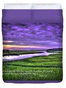 Sunset Over Turners Creek John 3 17 Duvet Cover