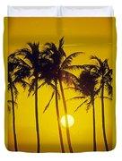Sunset Palms And Family Duvet Cover