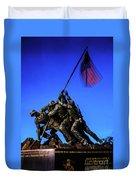 Sunset Photo At The Iwo Jima Monument Duvet Cover