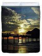 Sunset Pier Reflection Duvet Cover