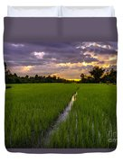 Sunset Rice Fields In Cambodia Duvet Cover
