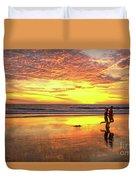 Sunset Ocean Runners Duvet Cover