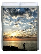 Sunset Sea Fishing  Duvet Cover