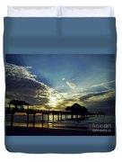 Sunset Silhouette Pier 60 Duvet Cover
