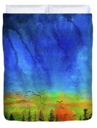 Sunset Silhouette With Canada Geese Duvet Cover