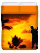 Sunset Silhouetted Golfer Duvet Cover