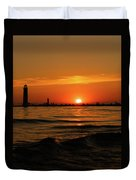 Sunset Silhouettes At Grand Haven Michigan Duvet Cover