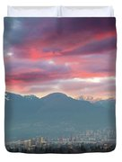Sunset Sky Over Port Of Vancouver Bc Duvet Cover