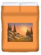 Sunset Spruces Duvet Cover