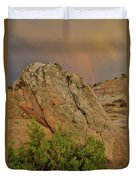 Sunset Storm Over Bentonite Site Boulders Duvet Cover