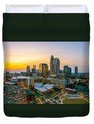 Sunset Sunrise Over Charlotte Skyline North Carolina Duvet Cover