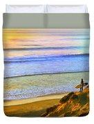 Sunset Surf At La Jolla Duvet Cover