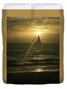 Sunset Through Sailboat Duvet Cover