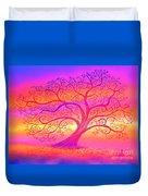 Sunset Tree Cats Duvet Cover