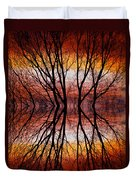 Sunset Tree Silhouette Abstract 2 Duvet Cover