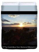 Sunset Valley Of The Gods Utah 01 Text Black Duvet Cover