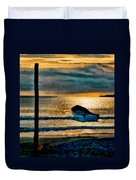 Sunset With Boat Duvet Cover