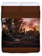 Sunset Work Dogs Duvet Cover