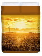 Sunsets And Golden Turbines Duvet Cover