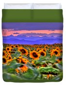 Sunsets And Sunflowers Duvet Cover