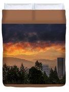 Sunsrise Over City Of Portland And Mount Hood Duvet Cover