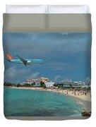 Sunwing Airline At Sxm Airport Duvet Cover