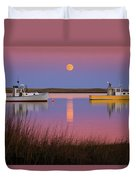 Super Moon Over Nauset Beach Cape Cod National Seashore Duvet Cover