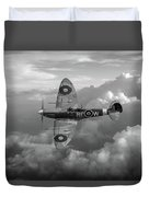 Supermarine Spitfire Vb Black And White Version Duvet Cover