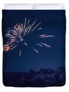 Supermoon And Fireworks  Duvet Cover