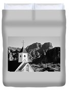 Superstition Mountain And Elvis Church Duvet Cover