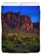 Superstition Mountain Sunset Duvet Cover