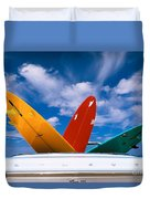 Surboards In A Plymouth Duvet Cover by Dana Edmunds - Printscapes