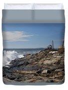 Surf At Pemaquid Light Duvet Cover