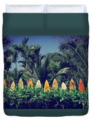 Surf Board Fence Maui Hawaii Vintage Duvet Cover