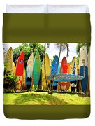 Surfboard Fence II-the Amazing Race Duvet Cover