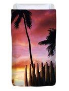 Surfboard Sunset Duvet Cover